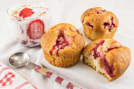 parfait: Strawberry muffins on a plate with strawberry parfait