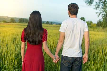 cereals holding hands: Couple holding hands in a wheat field facing sunset