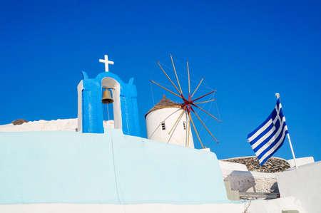 santorini island: Church at Santorini island in Greece, built in recognizable manner Stock Photo