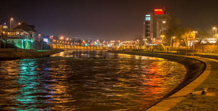 Nis, Serbia - FEBRUARY 13, 2016: City of Nis riverbank in Nis. Nis is the third largest city in Serbia 에디토리얼