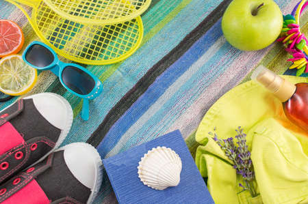 beach towel: Summer accessories on beach towel top view Stock Photo