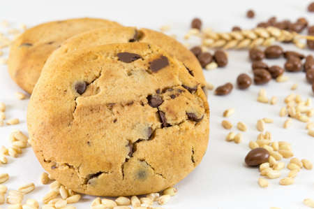 chocolate balls: Chocolate chip cookies and chocolate balls and wheat