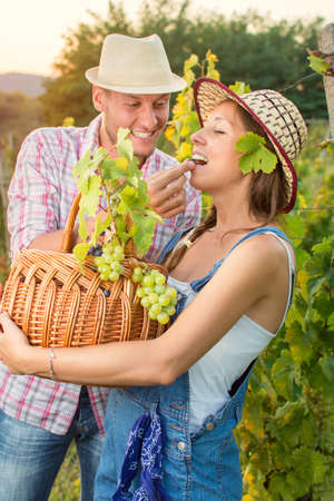 wine grower: Happy couple at a vineyard holding a wicker  basket