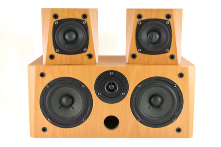 High quality wooden stereo speakers on white Stock Photo