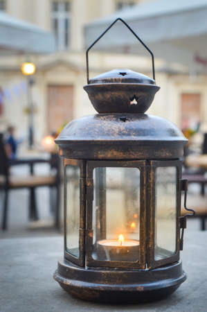 candle holder: Retro romantic candle holder in the restaurant Stock Photo