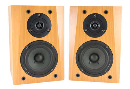 two party system: High quality wooden stereo speakers on white Stock Photo