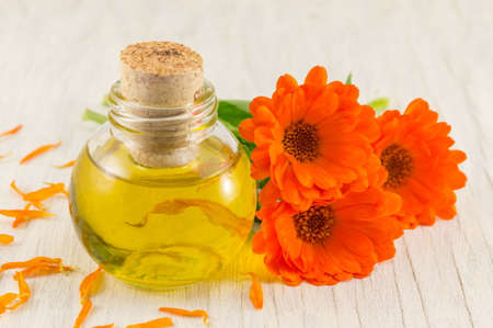 marigold oil with a fresh flower bouquet. Natural cosmetics Stock Photo