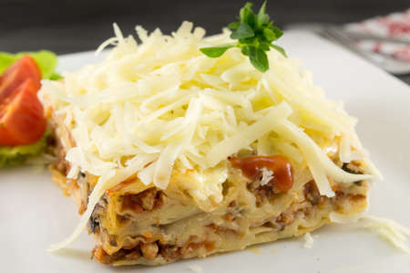 Lasagna portion served with fresh vegetables on a plate Фото со стока