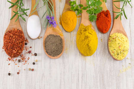 Various spices in wooden spoons on a wooden table