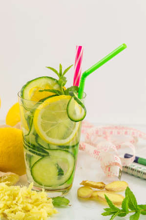 Diet drink with ginger root, lemon and parsley Reklamní fotografie