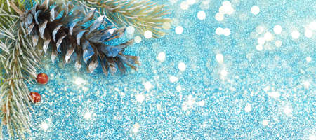 pinecones: Pinecones and fir tree on sparkling blue background wide banner