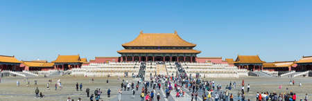 BEIJING - SEPTEMBER 28: Many tourists entering the Forbidden city, one of the main landmarks of Chinese capital Editorial