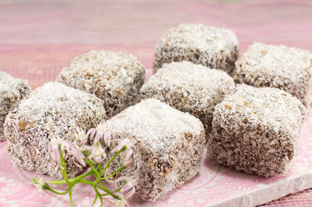 delicious lamingtons on a white plate Stock Photo