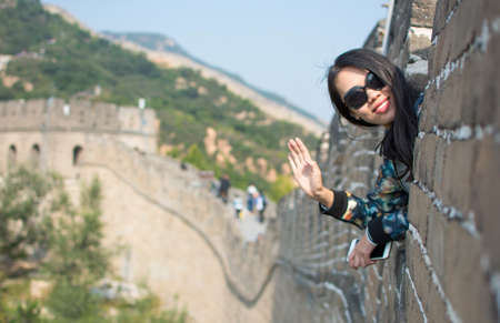 greatwall: Happy female tourist on the Great Wall of China