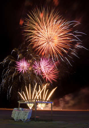 wildwood: fireworks over a beach on Independence day