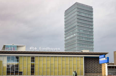 Eindhoven, the Netherlands - 15.09.2015: View at the main train station, with high business building rising behind
