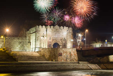 serbia xmas: Fireworks rising over Fortress of Nis in Serbia