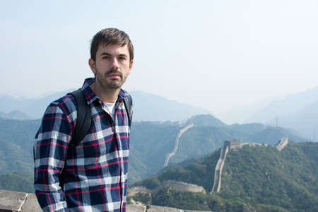 greatwall: Tired tourist at the Great wall of China