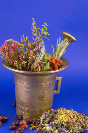 Dried herbs in a golden vintage mortar