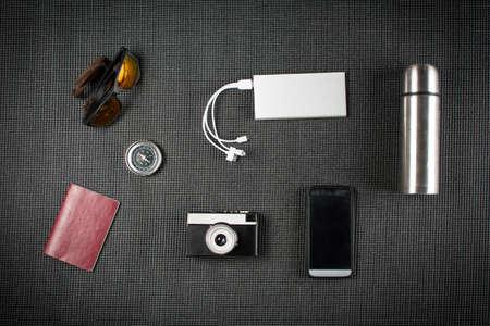 Basic equipment for modern travel top view