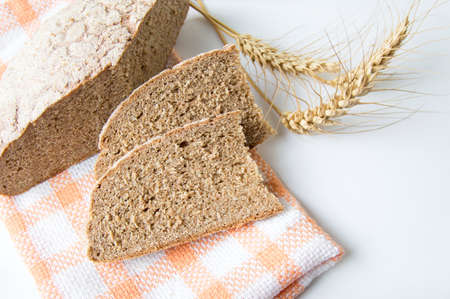 home baked: Home baked rye bread slices with wheat