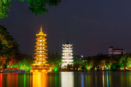 Two towers in Guilin China at night long exposure