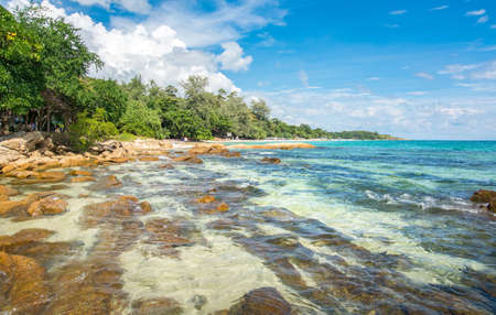 Rocky beach of koh Samet island in Thailand with clear water Stock Photo