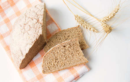 Home baked rye bread slices with wheat