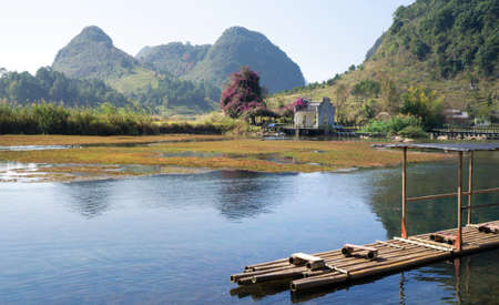 Bamboo raft floating on Li river in China