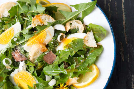 breadcrumbs: Dandelion leaves natural meal salad on a plate