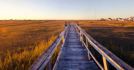 wildwood: old wooden dock on the bay at sunset Stock Photo