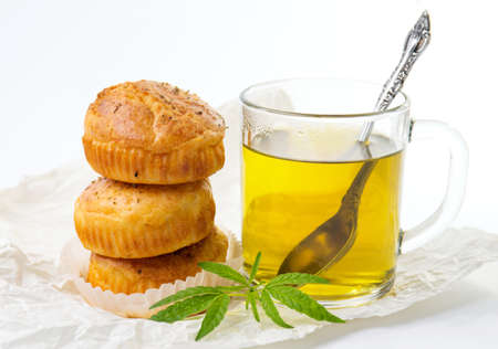 Marijuana cupcake muffins and hot cannabis tea