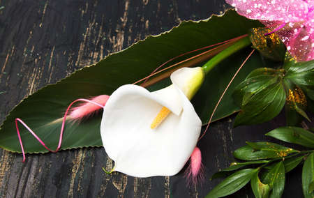 Calla Lily flower decorated bouquet on a table