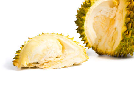 Durian fruit slice with peel on white background