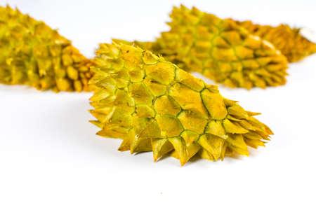 Durian tropical fruit peel isolated on white background Stock Photo