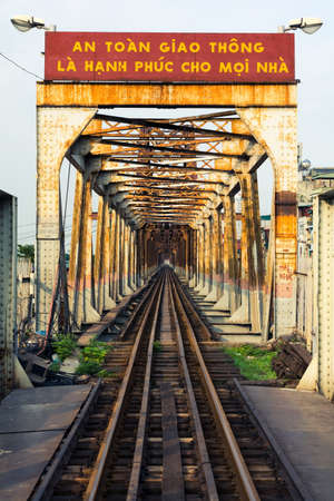 HANOI, VIETNAM - MAY 24, 2017: Hanoi Long Bien bridge with train rail which connects two parts of the city across the Red river