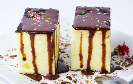 custard slice: Cream pie with chocolate on a plate