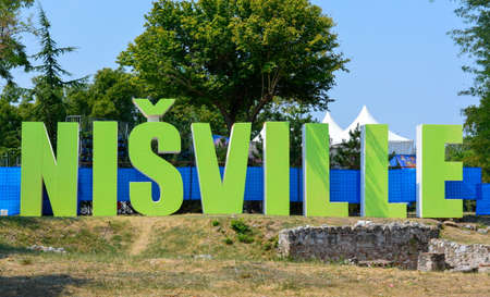 serbia: Nis, Serbia - AUGUST 16, 2015: Nisville jazz festival sign in Nis fortress next to event place