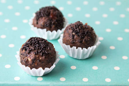 sprinkled: Homemade chocolate truffles in paper holder cups