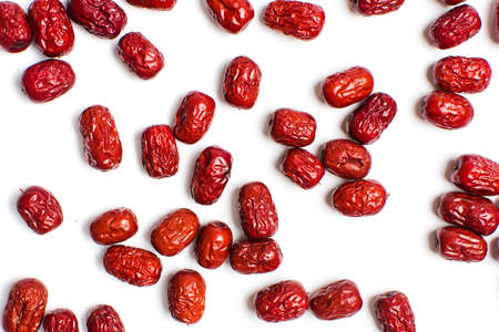 fruitage: Jujube, Chinese dried red date fruit on white