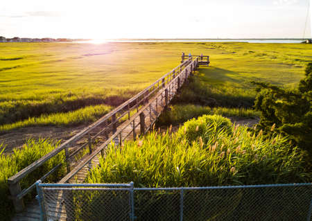 Wooden bridge over a swamp in Wildwood New Jersey, aerial view Stock Photo