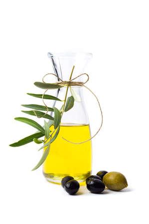 Olive oil bottle isolated on white background Zdjęcie Seryjne