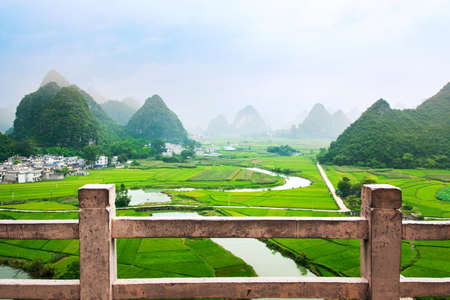 Stunning rice field view with karst formations in Guangxi, China