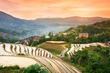 Zonsondergang over terrasvormig padieveld in Longji, Guilin-gebied, China Stockfoto