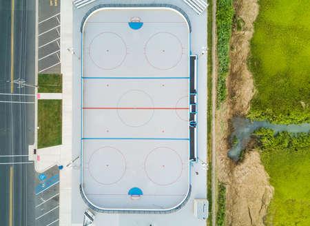 Luchtmening van een openluchthockeyhof Stockfoto