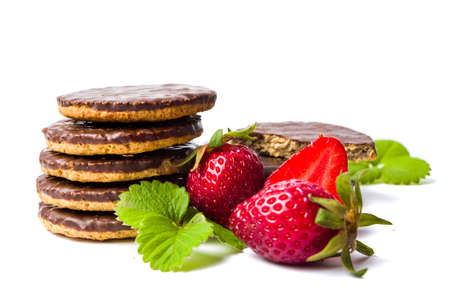 Strawberry biscuits and fruit isolated on white Stock Photo