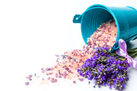 Lavender flowers and bath salt for aromatic spa isolated Stock Photo