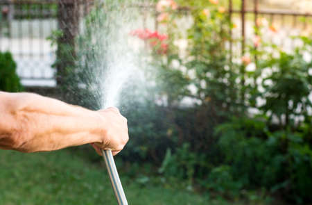 Man watering flowers with a hose outside Stock Photo
