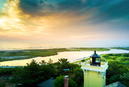 wildwood: Aerial sunset view with a small lighthouse