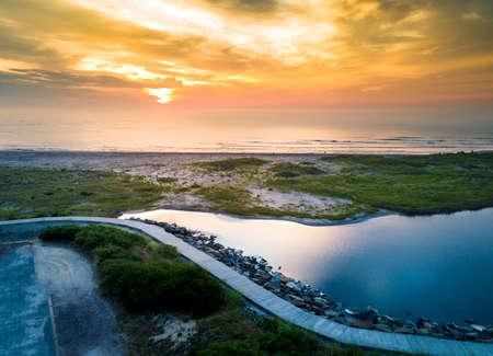 wildwood: Sunset over the ocean in Wildwood, New Jersey aerial view